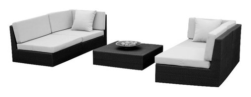 MangoHome - Outdoor Patio Furniture Wicker Sofa Sectional 5pc Resin Couch Set - Outdoor Patio Furniture Wicker Sofa Sectional 5pc Resin Couch Set