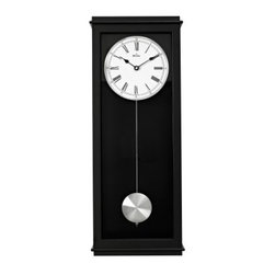 Bulova Vision Wall Clock - 10W x 25.5H in. - A vision of modern style, the Bulova Vision Wall Clock - 10W x 25.5H in. adds a graceful appeal to your wall. The satin black finish and glass side panels contrast beautifully with the oversize white aluminum dial. A triple-chime movement plays Westminster, Ave Maria, or Bim-Bam chimes on the hour.About Bulova CorporationThe realization of a great American dream began in 1875 when Joseph Bulova, a 23-year-old immigrant from Bohemia, opened a small jewelry store on Malden Lane in New York City. This modest enterprise was to evolve into one of today's preeminent watch and clock companies. In 1911, Bulova began manufacturing boudoir and desk clocks, along with fine pocket watches, which he made and sold in unprecedented numbers. During World War I, wristwatches were issued in the military for their greater convenience. Returning veterans brought home the new fashion - and a new market emerged.Bulova timepieces use only the finest materials, precision, craftsmanship, and state-of-the-art technology for enduring quality and performance. At the heart of each Bulova watch is precision accuracy. From the finest quartz movements to alternative technologies such as solar or mechanical energy, each Bulova watch is guaranteed to be accurate to within one minute a year. Every Bulova is anti-magnetic, shock-resistant, and features the company's unique distortion-free and scratch-resistant Dura-Crystal.Only Bulova offers the range of styling and the scope of products to meet everyone's needs. From the sporty Marine Star Collection to diamond watches and heirloom-quality timepieces, Bulova has a watch or clock that will complement your style.