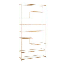 Worchester Gold Leaf Iron/Glass Bookshelf - Whether you use the Worchester Bookshelf for a collection of treasured home accents or for several handsome folios, the contents will look better than ever on the airy clear glass shelves, two of which contain sudden angles for an unusual layout that suggests intriguing decorative purposes for the transitional shelving. Thin metallic outlines with traditional rope textures and a rich gold-leaf finish confine the crystalline panes in their geometric space.