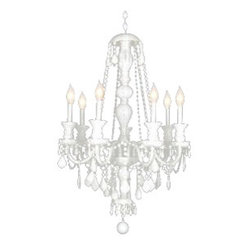 "SNOW WHITE CRYSTAL CHANDELIER LIGHTING H37"" x W26"""
