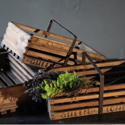 BoBo Intriguing Objects - BoBo Intriguing Objects Queen Square Orchard Crate - Modeled after apple crates from England. Used to transport apples from orchard to Londons Queen Square Market. Each piece is unique. Wood with metal handle.