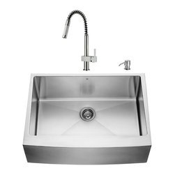 """VIGO Industries - VIGO All in One 30-inch Farmhouse Stainless Steel Kitchen Sink and Faucet Set - Add some sophistication to your kitchen with a VIGO All in One Kitchen Set featuring a 30"""" Farmhouse - Apron Front kitchen sink, faucet, soap dispenser, matching bottom grid and sink strainer."""