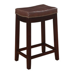 "Linon - Linon Claridge Patches Brown Counter Seat Height Stool in Dark Brown - Linon - Bar Stools - 55815BRNPU01KDU - The Claridge Patches Brown Counter Stool will add stylish seating to any counter or high top table. The sturdy wood frame has  a dark brown finish accented by a brown vinyl upholstered seat. Nailhead trim and accent stitching adds a patchwork design to the top for an eyecatching detail. 24"" Seat Height"