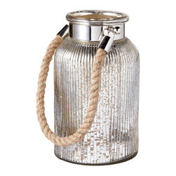 Large Mercury Glass and Rope Lantern - Mercury glass is an old style with a modern appeal, so with the rope handles, you've got an air of ski lodge swank. You've now become the who's who of style in your own home. Use anywhere you need some interesting glass pieces to draw the eye.