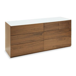 Calligaris - City 6-drawer Wooden Dresser w Glass Top (Fro - Choose Glass Top: Frosted Black GlassPictured with Frosted Extra White Glass. Walnut finish. 6 drawer dresser with matching interiors. Frosted tempered glass top. Drawers with decelerating locking system. Drawers feature matching interiors and a soft close mechanism. Assembly required. 2 lower drawers (10 in. high fronts). 4 higher drawers (8 1/8 in. high fronts). 63 in. W x 20.125 in. D x 27.375 in. H