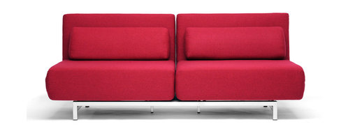 Baxton Studio - Red Fabric 2-Seat Convertible Sofa/Chair - It is completely ok to fear commitment. This fabric 2 seat sofa chair can alleviate the anxiety of the commitment it takes to purchase furniture. It reclines if you feel like offering a more relaxing atmosphere, splits into two chairs facing opposite directions if the mood strikes you or otherwise is a comfy, cool modern sofa. The solid steel construction ensures that it lasts no matter how many times you change your mind.