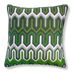 Green Bargello Chevron Pillow - Bargello pillows, hand embroidered using long stitches to form elaborate geometric patterns • handmade 100% wool bargello