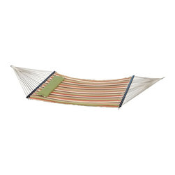 Bliss - Bliss Hammocks Euro Quilted Hammock with Striped Pillow - Orange / Green - BQH-4 - Shop for Hammocks from Hayneedle.com! Make plans for absolutely nothing with the Bliss Hammocks Euro Quilted Hammock with Striped Pillow - Orange / Green. This hammock features colorful material and braided ropes for strength and beauty. Its included pillow offers even more de-motivation to your daily routine. About Bliss HammocksWith four years of wholesale business experience Bliss Hammocks has successfully created and marketed a unique line of hammocks hammock chairs and outdoor recreational products that offer a winning combination of top-quality workmanship and state-of-the-art packaging and design. With a full line of hammocks drawing interest from an assortment of industries and markets Bliss hammocks has gained recognition in spa and resort shops drug store chains gift shops sporting good chains and more. Quality is of utmost importance. Bliss Hammocks products are personally inspected for quality to ensure each one is in line with every customer's high expectations.