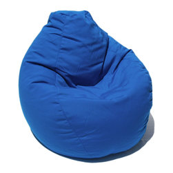 Bean Bag Boys - Bean Bag Boys Fabric Bean Bag Chair in Pacific Blue - Pear-shaped design offers back support or rounded appearance as needed. Complies with voluntary CPSC guidelines for zipper closures. 100% recyclable product. Product is refillable proudly made in the U.S.A double-stitched with clear nylon for added strength.