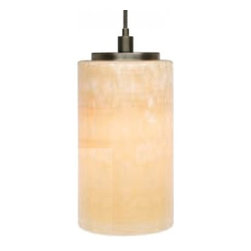 """LBL Lighting - LBL Lighting Onyx Cylinder low voltage pendant lamp - Products description: The Onyx Cylinder low voltage pendant lamp from LBL Lighting is designed by LBL Lighting and made in the USA. The Onyx Cylinder low voltage pendant lamp is made for domestic and commercial use and comes with mounting options FSJ, MPT, MR2 and MRL. This fixture features a genuine onyx shaped as an elegant cylinder. This fixture comes with 6 feet of field-cuttable cord and is available in onyx with a bronze or satin nickel finish.   Products description: The Onyx Cylinder low voltage pendant lamp from LBL Lighting is designed by LBL Lighting and made in the USA. The Onyx Cylinder low voltage pendant lamp is made for domestic and commercial use and comes with mounting options FSJ, MPT, MR2 and MRL. This fixture features a genuine onyx shaped as an elegant cylinder. This fixture comes with 6 feet of field-cuttable cord and is available in onyx with a bronze or satin nickel finish.  This fixture is compatible with the LBL Single Circuit Monorail,LBL Two-Circuit Monorail, or LBL Fusion Jack Canopies.                                     Manufacturer:                                      LBL Lighting                                                     Designer:                                      LBL Lighting                                                     Made  in:                                     USA                                                     Dimensions:                                      Height: 8"""" (20.3cm) X Width: 3.9"""" (9.9cm)                                                     Light bulb:                                      1 X 50W GY6.35 Xenon or 1 X 6W LED                                                     Material                                      Metal, onyx"""