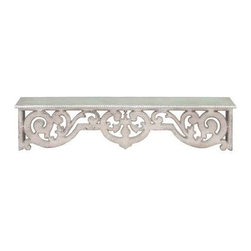 BZBZ50994 - Wood Wall Top Shelf with intricately Designed Wood Work - Wood Wall Top Shelf with intricately Designed Wood Work. Wood wall top shelf with Intricately designed wood work. Some assembly may be required.