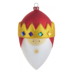 "Alessi - Alessi ""Gaspare"" Christmas Bauble - This blown glass Magi's sly smile and bejeweled crown make him an utterly irresistible addition to your Christmas decor. He'll be happy as can be to hang from your tree all season long."