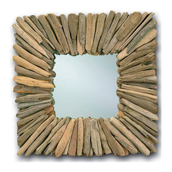 Square Beachhead Mirror - Natural Driftwood - Geometric flair reminiscent of the era of Art Deco meets the ever-surprising, yet oddly soothing effect of all-natural materials in the Beachhead Mirror.  A square wall mirror with a sunburst-effect frame constructed from carefully-selected pieces of genuine driftwood, it looks ideal with antiqued wood finishes and complements detailed furniture with its simplicity and depth.  Use in a guest bath, a bedroom, or an entryway to derive the perfect look.