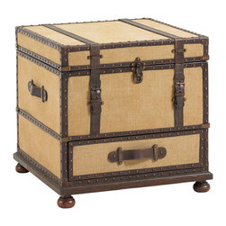 Lexington - Lexington Fieldale Lodge Gunnison Trunk Table 455-969 - The fabric covered exterior is exquisitely detailed with leather strapping, nailhead trim, and aged antique brass hardware. The bottom drawer provides storage, and the top lid opens to reveal a sliding removable tray with file storage below.