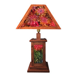 Craftsman Style Hand Painted Lamp - Hand crafted solid red or white oak, four panel lamp shade and lighted base with hand painted glass inserts by Jamie Barthel.  This design features bouquets of dahlias in pinks, reds, magentas, yellows and greens.  A three way corded switch allows you to choose to light top, bottom, or both.