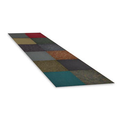 Sands Rug Co. - Assorted Colors 24x24-inch Carpet Tiles (10-Tile Pack) - This box of 10 assorted color carpet tiles allow you to mix and match to your hearts desire.  The tiles are all random in color and design.  No two may be alike but you will never be able to find them at this price!  Each tile is designed to fit snugly against the other to creat an complete seam.  The tiles come with double face tape to secure them in place.  These tiles are perfect for a mud room, basement, kids play area a garage or any other use you can find!