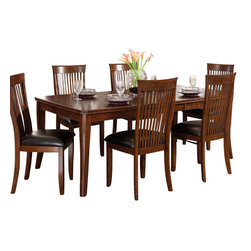 Standard Furniture - Standard Furniture Regency 8-Piece Dining Room Set - Regency features unique simplicity coupled with an updated design blend making it the perfect complement to your home. Quality veneers over wood products and select used throughout. Group may contain some plastic parts. Aged vintage Sienna brown color finish. Surfaces clean easily with a soft cloth.