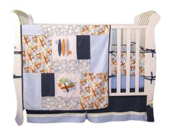 Trend Lab - Surf's Up 3-Piece Crib Bedding Set - Surf's Up dude! Take your nursery on a trip to the tropics with out Surf's Up collection. printed and embroidered surf boards, lizards, leaves and palm trees in shades of powder blue, burnt orange, sage green and midnight blue are mixed with soft terry cloth and denim patches to create the perfect sunny beach theme. Your little surfer will catch much needed Z's all through the night.