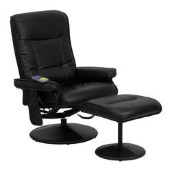 Flash Furniture - Flash Furniture Massaging Black Leather Recliner & Ottoman w/ Leather Wrapped Ba - Enjoy a relaxing massage in the comfort of your own home or office with this recliner and ottoman set. This set offers maximum massaging power that kneads your back, lumbar area and thighs. With three intensity levels and five massage modes you are sure to get the comfort that you're looking for. Look no further for your perfect massage chair offered at an incredible price! [BT-7320-MASS-BK-GG]
