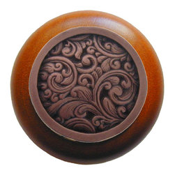 Classic Collection - Saddleworth Wood Knob in Antique Copper/Cherry