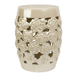iMax - iMax 25061 Paige Cutwork Garden Stool - Roses adorn the lustrous Paige Cutwork Garden Stool to create a stool as worthy of your boudoir as your garden room.