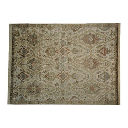 Ivory Oushak Bamboo Silk 9' x 12' Hand Knotted Oriental Rug SH16977 - Hand Knotted Oushak & Peshawar Rugs are highly demanded by interior designers.  They are known for their soft & subtle appearance.  They are composed of 100% hand spun wool as well as natural & vegetable dyes. The whole color concept of these rugs is earth tones.