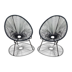 Harmonia Living - Acapulco 2 Piece Lounge Chair Set, Jet Black - The Acapulco 2 Piece Lounge Chairs Set in Jet Black (SKU HL-ACA-2LC-JB) blends mid-century design with modern funk to create a new standard of comfort and style for your patio. The collection is inspired by woven furniture that was incredibly popular in Central America in the 1950s and '60s, creating seating that is supportive and breathable. This makes the Acapulco Lounge Chairs ideal for unwinding even in the warmest climates. The chair is designed to center your weight between its triangular legs, providing a stable and comfortable resting position that seems to defy the outrageous geometry of the collection. Beyond its comfortable design, the Lounge Chairs is constructed with a powder-coated steel frame, making it incredibly durable and weather-resistant. The frame is wrapped in a supportive Polyethylene cord, giving the collection its distinctive look. The chair is available in 4 funky colors that are sure to brighten up your patio, including Lime Green, Hot Pink, Candy Apple Red, Glacier Blue, White Lighting, Atomic Tangerine and Jet Black.