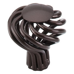 """Top Knobs - Small Round Twist Knob 1 1/4"""" - Oil Rubbed Bronze - Width - 1 1/4"""", Projection - 1 1/2"""", Base Diameter - 5/16"""""""