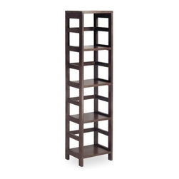 Winsome Leo 4-Tier Narrow Wood Bookcase - About the Ephriam BookcasePerfect for displaying collections or books in tight spaces this wooden bookshelf features four shelves and a smooth top surface. The dark finish and contemporary design add a modern touch to your decor.