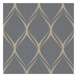 Decorline - Platinum (Decorline) Geometric Wallpaper - Sleek midcentury modern style is king in this sophisticated gray and pearl wallpaper. With this pleasing geometric pattern on your walls, the whole room will have a sense of flow and cosmopolitanism.