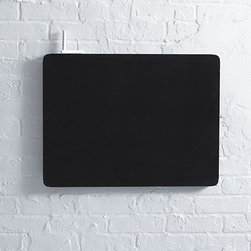 """three by three® Peggy 24""""x18"""" Chalkboard - Hook it, hang it, have it all in view, all at your fingertips. Our exclusive Peggy system of boards and accessories helps you achieve meticulous order in the kitchen, office, laundry room or any other space that needs tidying. Crafted of galvanized steel with an erasable chalk paint finish, this dual chalkboard-magnetic board coordinates with our modular pegboards to hang alone or create a custom wall of organization with multiple boards outfitted with coordinating hooks, bins and file folders (sold separately). Chalkboard easily mounts horizontally or vertically."""
