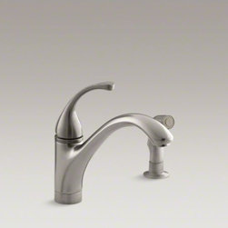 """KOHLER - KOHLER Fort�(R) 2-hole kitchen sink faucet with 9-1/16"""" spout, matching finish s - Fluid design lines make the Fort� faucet a versatile addition to your kitchen decor. An arched swing spout and included sidespray simplify food prep and cleaning large pots and pans. The single lever handle offers ease of use, allowing you to turn the wat"""