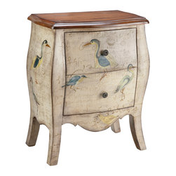 None - Sterling 2-drawer Bird Motif Accent Chest - The casually elegant Sterling chest calls to mind the warmth of a cozy cottage home. Finished in distressed ivory,this charming two-drawer storage piece is personalized with hand-painted bird motifs.