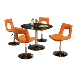 """Pastel Furniture - Pastel Sundance 5-Piece Black Glass Dining Room Set with Dublin Chairs - Sundance dining table with 44"""" round Black Glass Tabletop. This set includes the Dublin side chairs in orange."""
