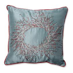Pillow Perfect - Pillow Perfect Christmas Wreath 18-inch Throw Pillow - Pillow Perfect Christmas Wreath 18-inch Throw Pillow