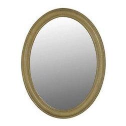 Belle Foret - Belle Foret 33 in. x 25 in. Framed Oval Mirror, Antique Parchment (80043) - Belle Foret 80043 33 in. x 25 in. Framed Oval Mirror, Antique Parchment