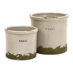 """IMAX CORPORATION - Basil Sage Pots - Set of 2 - Perfectly sized, this set of two basil herb pots is made of red clay and kiln fired to perfection. Finished in a white crackle glaze, rough edges are purposely exposed to add character. Set of 2 in various sizes measuring around 6.75""""L x 6.75""""W x 3.25""""H each. Shop home furnishings, decor, and accessories from Posh Urban Furnishings. Beautiful, stylish furniture and decor that will brighten your home instantly. Shop modern, traditional, vintage, and world designs."""