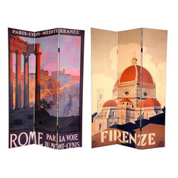 Oriental Furniture - 6 ft. Tall Double Sided Rome/Firenze Room Divider - Bring home a slice of Italian style with these beautiful, art nouveau travel poster prints of Rome Florence. On the front is a wonderful image of the famous domed Florentine cathedral, or  Duomo , the  Santa Maria del Fiore . The back depicts a lovely hilltop view from the Palatine Hill, looking down through ancient Roman ruins. These simple yet attractive interior design elements are a perfect addition to any living room, bedroom, dining room, or kitchen. This three panel screen has different images on each side, as shown.