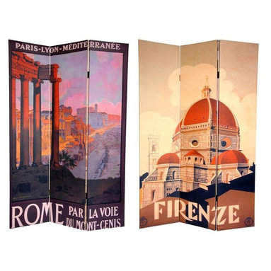 Oriental Furniture - 6 ft. Tall Double Sided Rome/Firenze Room Divider - Bring home a slice of Italian style with these beautiful, art nouveau travel poster prints of Rome Florence. On the front is a wonderful image of the famous domed Florentine cathedral, or Duomo, the Santa Maria del Fiore. The back depicts a lovely hilltop view from the Palatine Hill, looking down through ancient Roman ruins. These simple yet attractive interior design elements are a perfect addition to any living room, bedroom, dining room, or kitchen. This three panel screen has different images on each side, as shown.