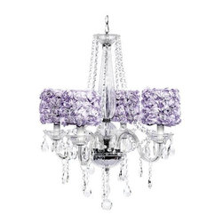 Belle & June - Middleton Glass & Purple Rosette 4 Light Chandelier - This 4 arm middleton chandelier features with lavender rose garden drum shades and crystal drops.  Hang this whimsical and feminine chandelier in your little girls bedroom or nursery.