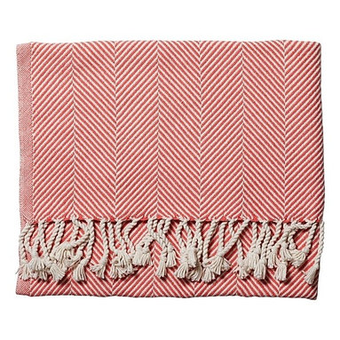 Coral Herringbone Throw - Use this herringbone throw to keep warm by the fire pit outdoors.