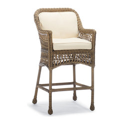 Hampton Outdoor Bar Stool with Cushion - Frontgate, Patio Furniture