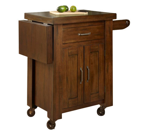 Home Styles - Home Styles Cabin Creek Kitchen Cart with Side Drop Leaf in Distressed Chestnut - Home Styles - Kitchen Carts - 541195 - Our Cabin Creek collection conveys a reclaimed wood vintage feel. Each piece is heavily distressed by hand providing a unique one of a kind look.