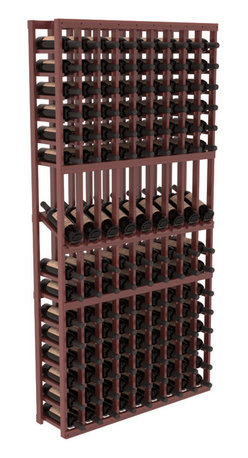 Wine Racks America - 9 Column Display Row Wine Cellar Kit in Premium Redwood, Cherry + Satin Finish - We select from the highest grade materials available. Completely solid assembly retains strength while displaying 9 of your favorite bottles. We guarantee it will last. All the edges of our products are softened to ensure you won't get nicks or splinters, like you will from budget competition. You'll be satisfied. We guarantee that, too.