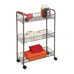 Richards Homewares - Bronze Wire Cart with Wheels, 3-Tier, Medium - Wire shelves make it easy to store and find items. Great for laundry room, bath rooms, and pantries. Rolls anywhere on easy glide castors. Available in three size to fit every storage need.