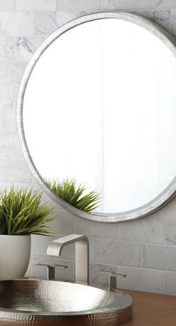 Native Trails Divinity Round Mirror - Made of hammered aluminum with inset beveled glass, Divinity offers just the right touch of glimmer and textual interest; simply divine paired with Native Trails Brushed Nickel lavatory sinks and any Renewal Series bamboo vanity.