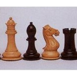 Luxury Kari Staunton Chess Pieces - This luxurious set of chess pieces is crafted of Kari wood with black and natural colored pieces. It is designed in a Staunton style and triple weighted to substantially weigh the pieces down and prevent them from falling during play. The bottoms of the pieces are lined with felt These pieces look great with most boards and are heirloom-quality chessmen.