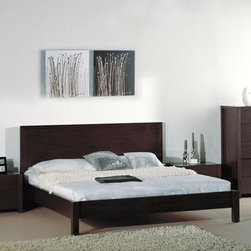 """Hokku Designs - Etch Platform Bed - Features: -Horizontally etched lines on headboard panel.-Platform slats system for mattress support.-Sunken mattress placement.-Vertical headboard design to minimize space requirement.-Represents a unique combination of design and workmanship.-Designed for easy installation.-Solid wood and veneer construction on medium density fiberboard.-Etch collection.-Please note: Optional Serta Mattress and box spring ships separately from bedroom furniture, and may arrive for delivery on an earlier or later date than bedroom furniture.-Mattress and box spring NOT included.-Powder Coated Finish: Platform.-Distressed: No.Dimensions: -Overall Height - Top to Bottom (Size: Full): 40"""".-Overall Height - Top to Bottom (Size: Queen): 40"""".-Overall Height - Top to Bottom (Size: King): 40"""".-Overall Width - Side to Side (Size: Full): 58"""".-Overall Width - Side to Side (Size: Queen): 64"""".-Overall Width - Side to Side (Size: King): 82"""".-Overall Depth - Front to Back (Size: Full): 79"""".-Overall Depth - Front to Back (Size: Queen): 84"""".-Overall Depth - Front to Back (Size: King): 84"""".-Overall Product Weight: 64 lbs.Warranty: -One year warranty."""