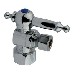 "Kingston Brass - Angle Stop with 1/2"" IPS x 3/8"" OD Compression - The 1/4-turn angle stop valve features a stylish vintage lever which controls the movement of water through and from plumbing fixtures. The valve is made of solid brass built for durability and dependability and also comes in a variety of finishes to better coordinate your kitchen/bathroom.; 1/4-Turn Angle Stop; 1/2"" IPS x 3/8"" OD Compression; English Vintage design; High Quality Brass Construction; Premier Finish Lever Handle; Material: Brass; Finish: Polished Chrome Finish; Collection: Vintage"