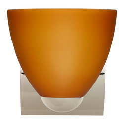 Besa Lighting - Besa Lighting 1WZ-757280-CR Sasha II Amber Matte Chrome One Light Wall Sconce - Sasha II has a classical bell shape that complements aesthetic, while also built for optimal illumination. Our Amber Matte glass is a caramel colored cased glass and opal inner layer. The orange glow has a low key harmonious display that exudes a warm mood. When lit the glass is vitalizing as well as stylish. The smooth satin finish on the outer layer is a result of an extensive etching process. This blown glass is handcrafted by a skilled artisan, utilizing century-old techniques passed down from generation to generation. The minisconce fixture is equipped with a sleek arcing diecast lampholder and matching radiused rectangular canopy. These stylish and functional luminaries are offered in a beautiful Chrome finish.